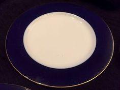 "Set Of 4 10.25"" Crate & Barrel Blue BAND Monno Bangladesh Plates With Gold Rim"
