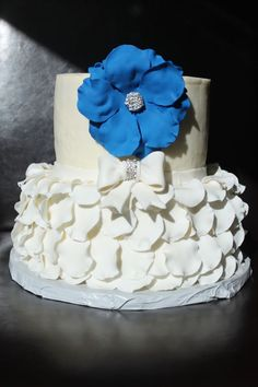 Bridal shower cake - wedding color is blue.