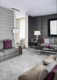 Dark grey grass cloth wall paper, majlis sofas, love.