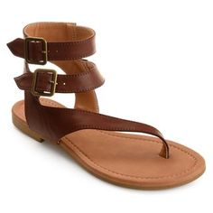 5e0d700f39a031 Journee Collection Women s  Kyle  Double Wrap Buckle Thong Sandals (5.5 -  Brown) (leather)