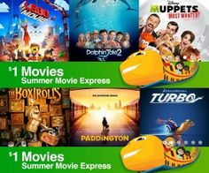 $1 Movies at Regal Cinemas for Summer Movie Express:  On Tuesday & Wednesday mornings starting June 2 through July 29 At 10:00 a.m., $1 buys your admission to select G or PG movies all summer long. Tickets are on a first come first serve basis so get there early to make sure you get your tickets.  Tickets available for purchase at the box office and A portion of the proceeds goes to the Will Roger institute.  Use this link for movie schedule and participating locations…