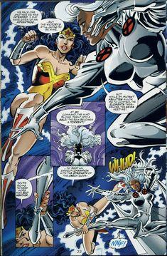 Wonder Woman Vs Storm (Storm was the Winner) Storm Marvel, Marvel Vs, Marvel Comics, Comic Book Characters, Marvel Characters, Comic Books Art, Comic Art, Marvel And Dc Crossover, Dc Comics Collection