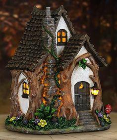 Exhart Tree Trunk Cottage Solar Fairy House Garden Décor | zulily