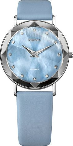 Facet Silver/Light Blue Mother-of-Pearl 35 mm Ladies' Watch Leather Light Blue Ladies Watches, Light Blue, Pearls, Lady, Silver, Leather, Collection, Woman Watches, Money