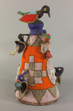Africa | Beaded great crown (Ade) from the Yoruba people of Nigeria | 19th century | Cloth and glass beads