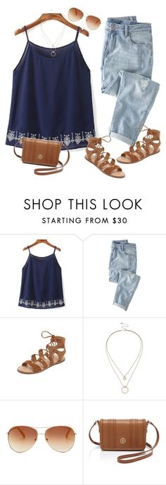 """Blue and Brown"" by alicehorner ❤ liked on Polyvore featuring Wrap, Dolce Vita, Sole Society, Tommy Hilfiger and Tory Burch"