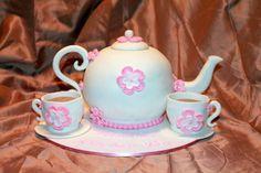 Tea Pot Cake. Caramel Mud cake with edible tea cups and saucers.