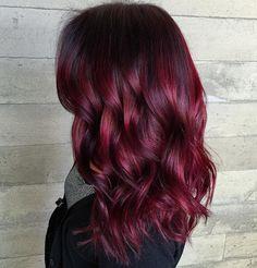 Bright+Burgundy+Balayage+Hair