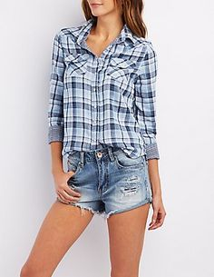 Woven Plaid Western Shirt #CharlotteLook