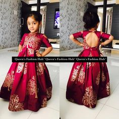 Anarkali for girls toddlers -- keyhole back -- cold shoulders -- 3/4 sleeve SO CUTE! Queensfashionhub.com