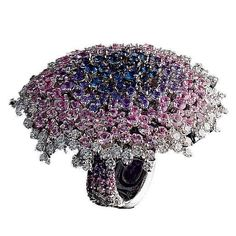 Galassia Ring, Sapphires, Diamonds, White Gold by Palmiero