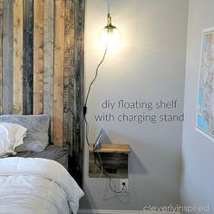 DIY floating shelves with charging stand via @cleverlyinspire