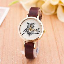 5fe05cdb991 2016 nova do Vintage relógio de coruja para mulheres Ladies PU Leather  banda estreita Retro Quartz