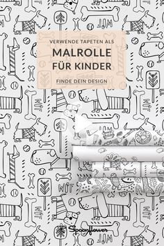 Print wallpapers for coloring as a roller! Great idea to keep your kids busy. #Time at home #children #wallpaper #colouring #leasure #bulletjournal #todolist Spoonflower, Design, Present Wrapping, Wallpapers, Gifts, Kids, Design Comics