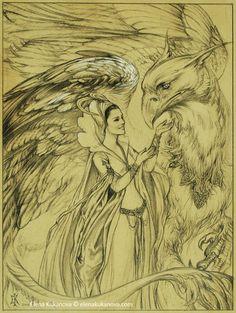 Queen and her Grifon by ~ekukanova on deviantART