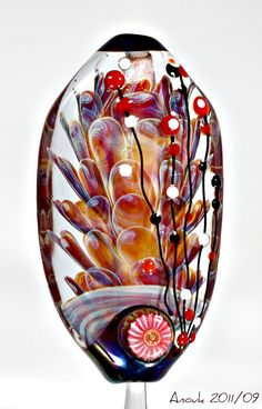 Feather Implosion  Handmade Lampwork Focal Bead by TrollLover