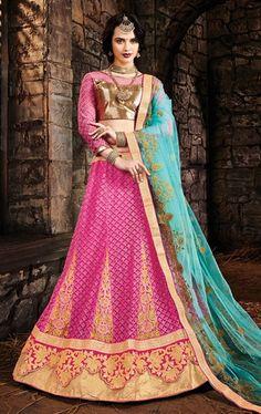 Tangerine Rose Pink Bridal Lehenga Choli