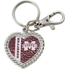 Mississippi State Bulldogs Silvertone Heart Keychain