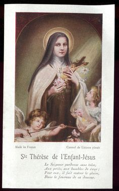 OLD HOLY CARD OF  ST THERESE OF CHILDREN JESUS AND ANGELS
