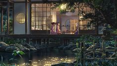 Anime Makoto Shinkai Kimi no Na Wa Geek Wallpaper, Aesthetic Desktop Wallpaper, Anime Scenery Wallpaper, Laptop Wallpaper, Anime Artwork, Kimi No Na Wa, The Garden Of Words, Casa Anime, Japanese Style House