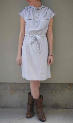 simple white dress + boots