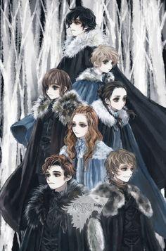 Winter Is Coming ~ by tyusiu  Jon Snow, Rickon Stark, Bran Stark, Arya Stark, Sansa Stark, Theon Greyjoy, Robb Stark