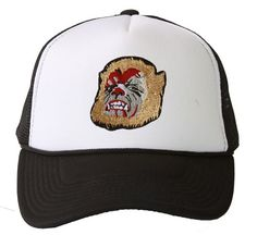 Black Trucker Mesh Vent Snapback Hat Wolf 3D Patch Embroidery