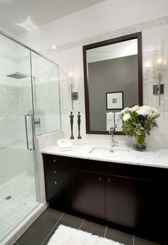 Like the dark tile and cabinets with everything else light. Also need double sink/mirror