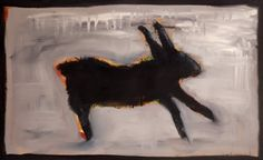 """Black Rabbit""  by Tesuque Reservation Flea Market Artist Kelly Moore….new art every monday at www.kellymoore.net"