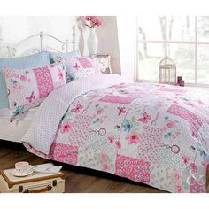 Vintage Patchwork Duvet Cover – Floral Butterfly White & Pink Bedding Bed Set
