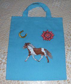 Baumwolltasche klein türkis Applikation Pferd  von 123 Zauberhaftes Allerlei  auf DaWanda.com