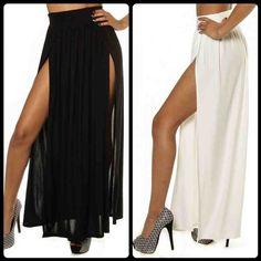 Black Daring Double Slit Skirt