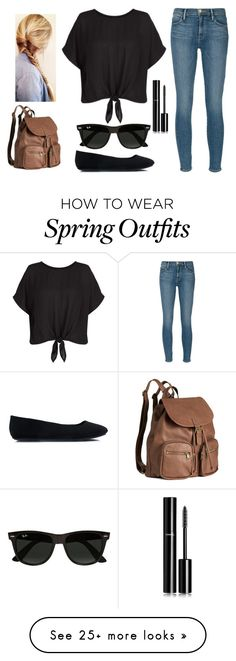 """""""Nice Spring Day School Outfit"""" by annakaterinalaine on Polyvore featuring Frame Denim, Chanel, Ray-Ban and H&M"""