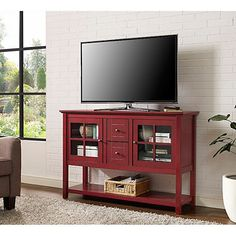 TV Stand Red Wood & Glass Media Console Cabinet Table Furniture Drawers Unit for sale online Tv Stand Sideboard, Wood Sideboard, Console Table, Console Cabinet, Console Tv, Living Room Storage, Table Storage, Living Room Decor, Living Rooms