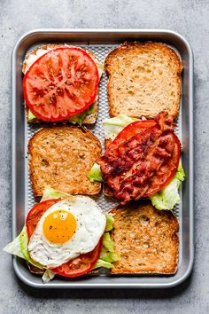 Breakfast BLT made with center cut bacon, lettuce, tomato and egg on whole wheat bread.
