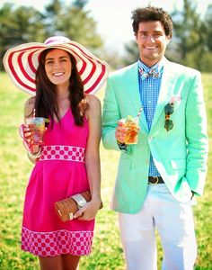 KJP and his beautiful girlfriend doing a Vineyard Vines style Kentucky Derby