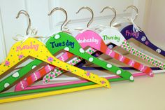 Organize your child's outfits for the week (They can even paint the hangers for a craft!)