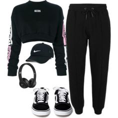 A fashion look from January 2018 featuring GCDS tops, NIKE hats y Beats by Dr. Browse and shop related looks. Cute Lazy Outfits, Cute Swag Outfits, Sporty Outfits, Athletic Outfits, Retro Outfits, Grunge Outfits, Outfits For Teens, Stylish Outfits, Gym Outfits