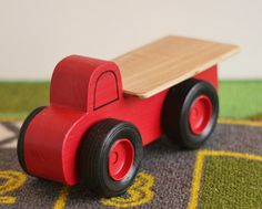 Toy Flatbed Truck - Handcrafted Wooden Toy Flatbed Truck - Red