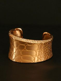 Pomellato Rose Gold Cocco Wide Cuff Bracelet. 18k Rose Gold Cuff Bracelet with Brown Diamonds. Available at London Jewelers.