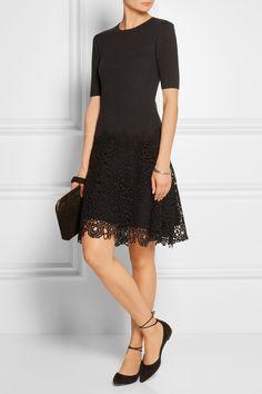 Lela Rose | Matelassé stretch-cotton and lace dress | NET-A-PORTER.COM
