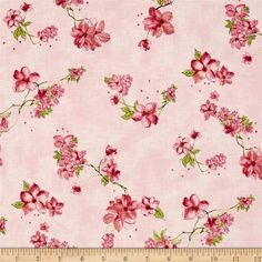 Painted Petals Metallic Petal Vine Blush/Gold from @fabricdotcom  From Hoffman California International, this cotton print collection features watercolor-esque and sketched floral prints. Use for quilting, apparel, and home decor accents. Colors include shades of pink, green, and metallic gold accents.