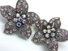 Vintage Silver Tone Filigree Pink AB Rhinestone Floral Button Clip on Earrings #retrofasion #deals