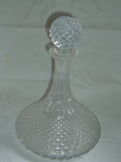 Retro  decanter  diamond cut glass decanter  by NewtoUVintage, $19.99