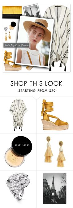 """""""How to Style a Striped Kaftan with Gold Espadrilles for a Smokin' Hot Summer Date Night in France"""" by outfitsfortravel ❤ liked on Polyvore featuring Tory Burch, Bobbi Brown Cosmetics, Oscar de la Renta, Chanel and Harveys"""