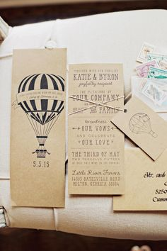 Wedding invitation suite, brown paper invites, hot air balloon graphic, Georgia wedding, repin to your own inspiration board // Studio 83 Wedding Photography
