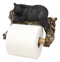 • Could your bathroom use a bit of rustic humor and whimsy? Entertain your guests with nature's acknowledgement of their proceedings in the bathroom. When they reach for the bath tissue, family members or visitors to your home or office will be treated to the sight of a lazy black bear looking at them while dispensing the paper they need. Combine this roll holder with other bathroom accessories to complete your lodge or cabin theme.• This detailed bear is the result of skilled craftsmanship and Unique Toilet Paper Holder, Recessed Toilet Paper Holder, Wall Mounted Toilet, Bear Decor, Roll Holder, Bathroom Wall Decor, Black Bear, Tree Branches, Bathroom Accessories