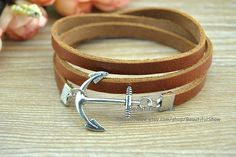 Silver Anchor Bracelet Brown Cuff Leather by BeautifulShow on Etsy, $3.99