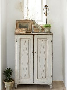 """Steve's design did not include closet cabinetry; instead a group of Swedish antique cabinets add charm as well as storage. """"This is one of the first pieces we purchased,"""" says Brooke. """"It has lived in different rooms in a couple of our homes now. French Farmhouse Decor, Modern Farmhouse Style, French Country Decorating, Antique Cupboard, Antique Cabinets, Small Cupboard, Patina Farm, California Style, California Living"""
