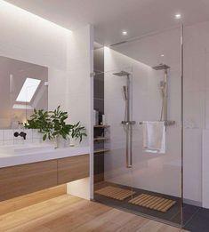Arredi per il bagno in legno e grigio - Bagno con doccia